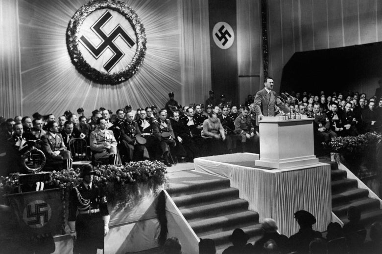 A 1939 photograph of Adolf Hitler at a Nazi party meeting.
