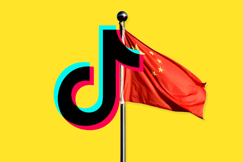 The TikTok logo and the China flag