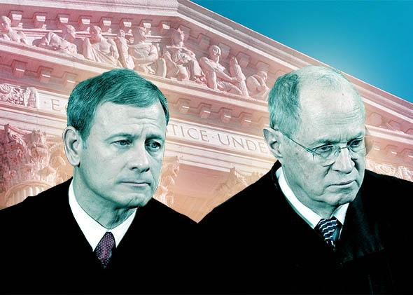 U.S. Supreme Court Chief Justice John Roberts (L) and Associate ,U.S. Supreme Court Chief Justice John Roberts (L) and Associate Justice Anthony Kennedy.