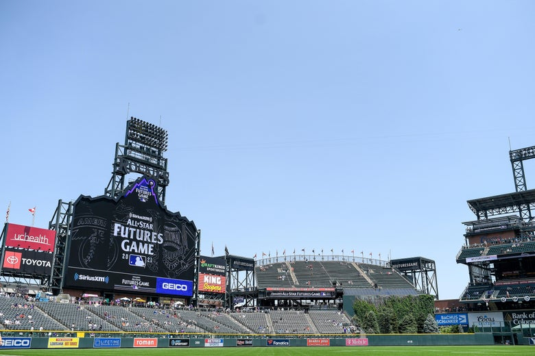 A general view of Coors field before a game between the National League Futures Team and the American League Futures Team at Coors Field on July 11, 2021 in Denver, Colorado.