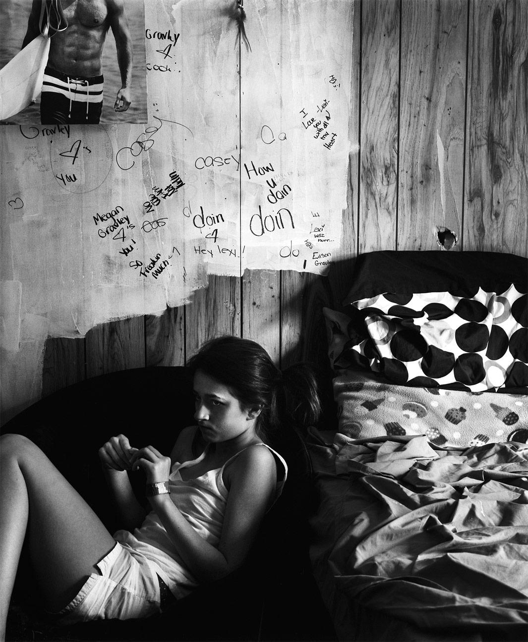 A Room for Alex, 2012Some time after I moved away, my sister and her children lived with my parents for awhile. Alex took over my old room, expressing herself onto thewalls. Not until I had printed this image did I notice the hole in the wall above the pillows.