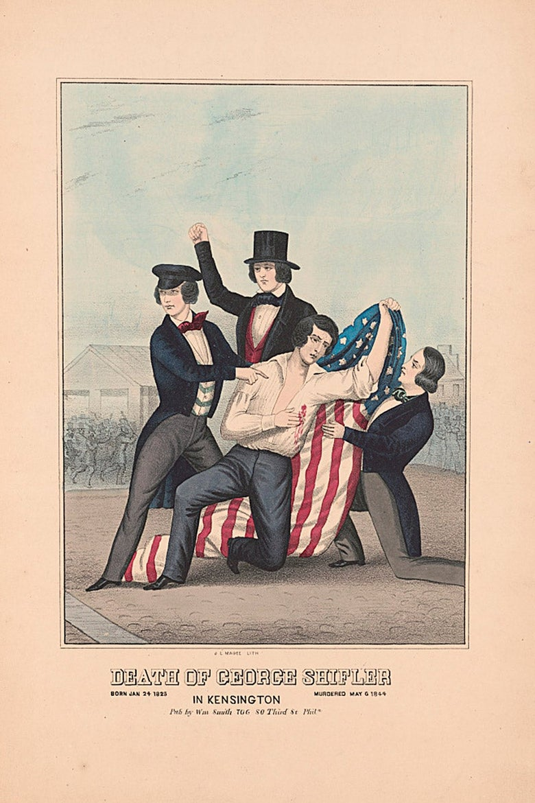 """Lithograph, """"Death of George Shifler,"""" J.L. Magee, lithographer."""