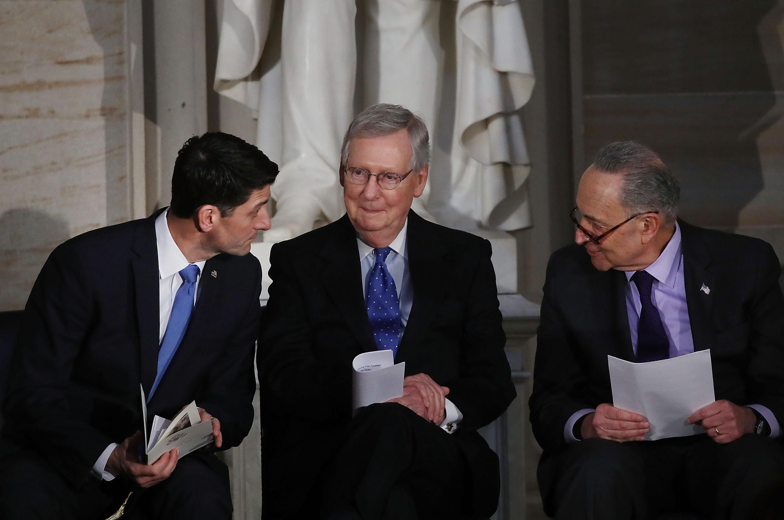 House Speaker Paul Ryan, Senate Majority Leader Mitch McConnell, and Senate Minority Leader Chuck Schumer.