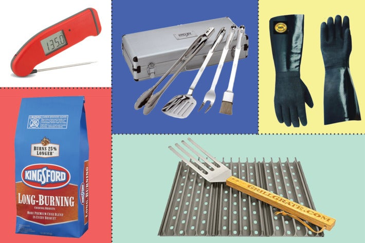 Collage of various grilling tools.