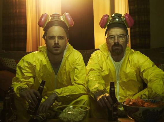 Bryan Cranston and Aaron Paul in Breaking Bad.