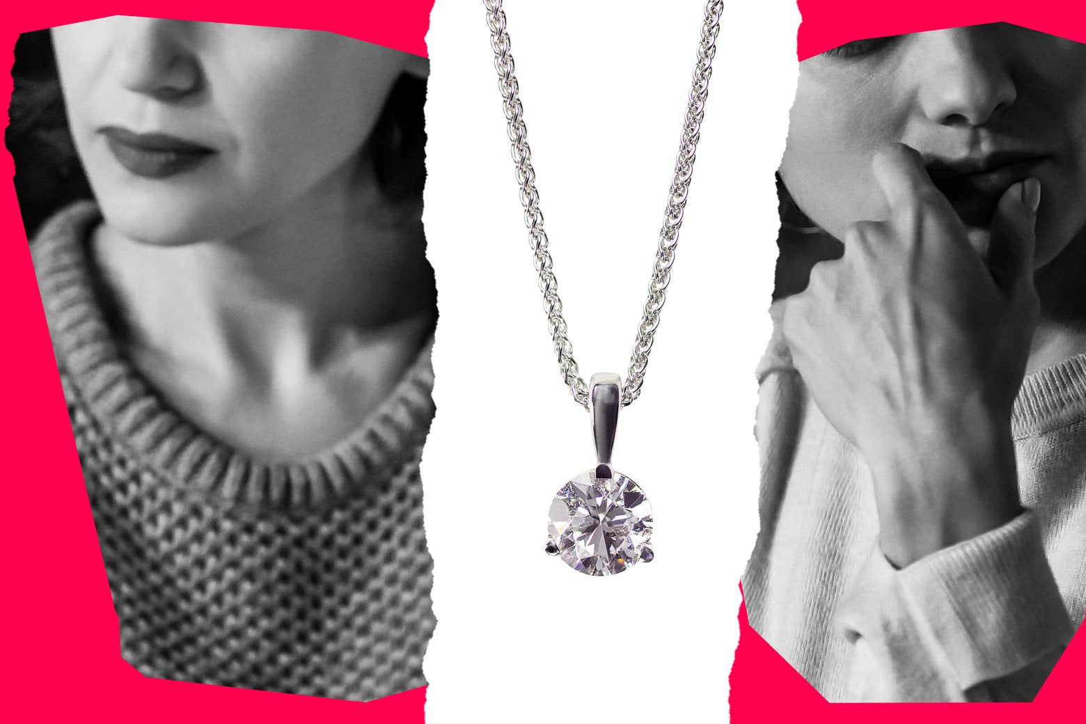 A collage depicting two women looking anxious, with a necklace at center.