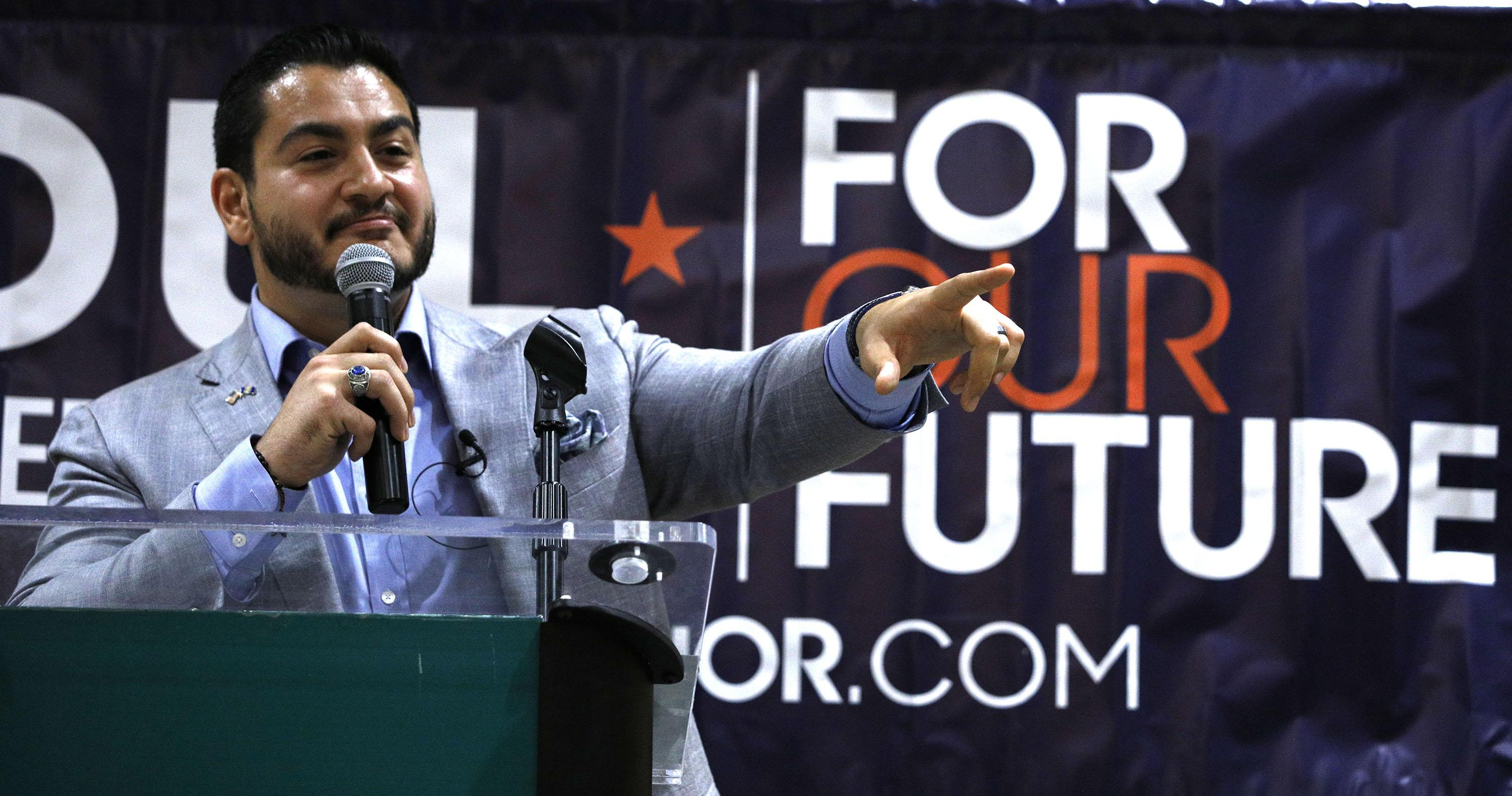Michigan Democratic gubernatorial candidate Abdul El-Sayed campaigns with support from New York Democrat candidate for Congress Alexandria Ocasio-Cortez at a rally on the campus of Wayne State University July 28, 2018 in Detroit, Michigan. (Photo by Bill Pugliano/Getty Images)