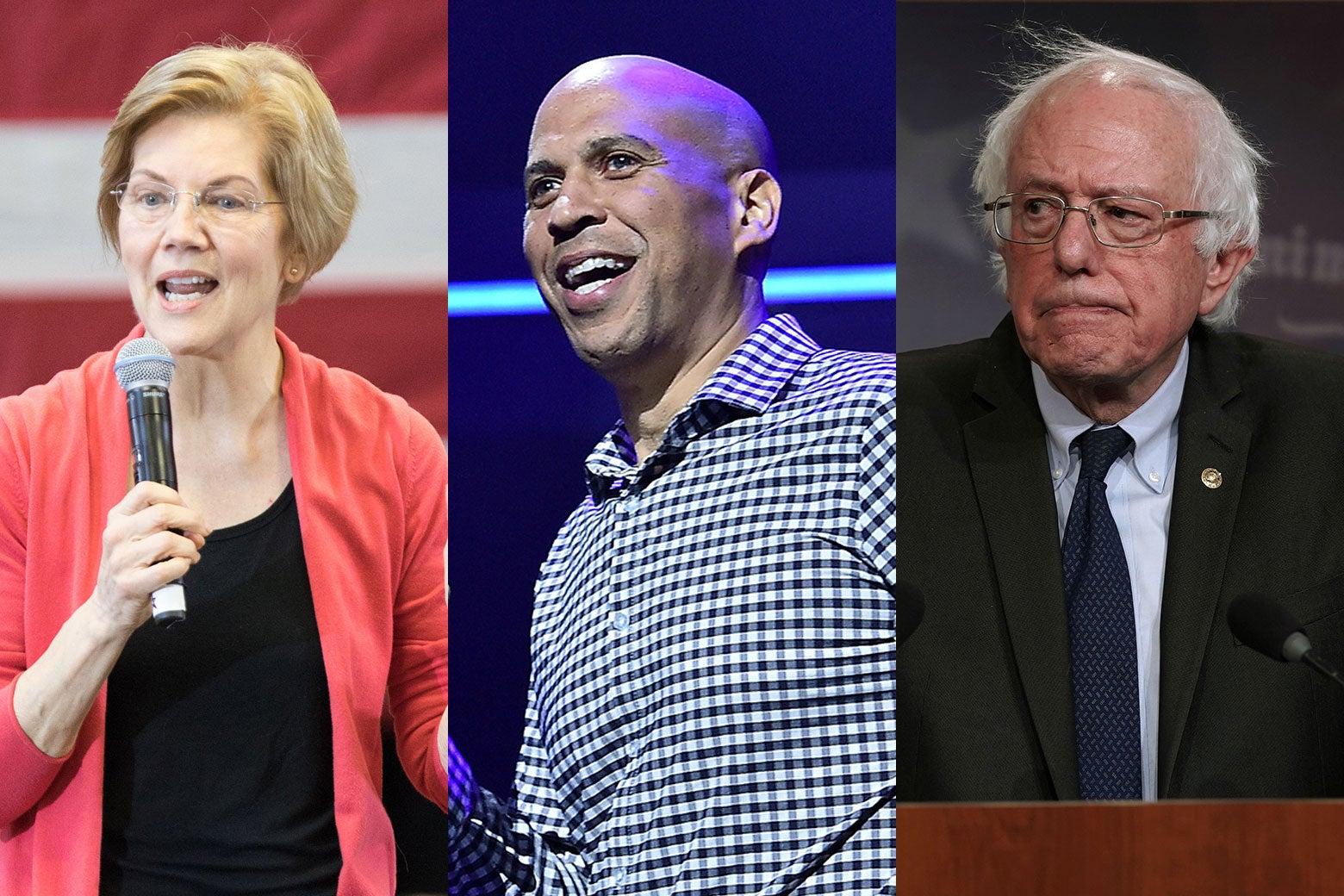 Elizabeth Warren, Cory Booker, and Bernie Sanders.