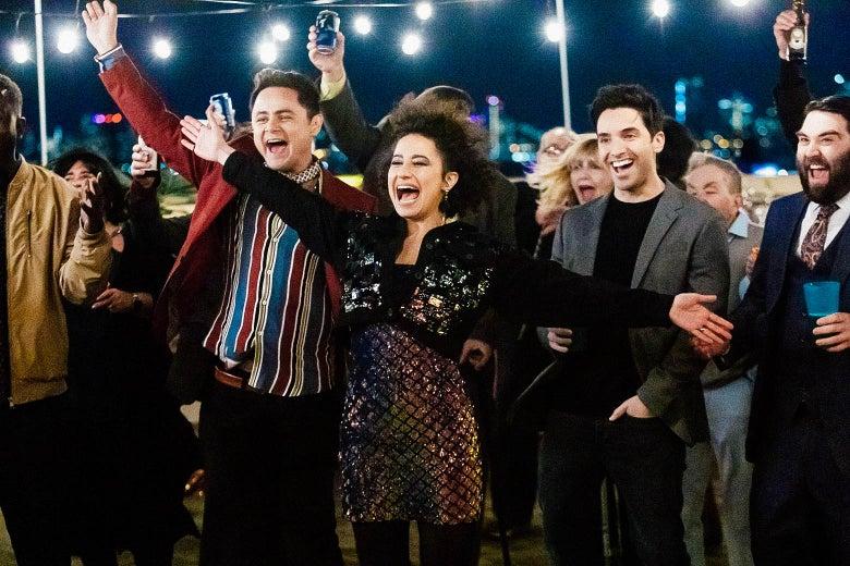 Arturo Castro, Ilana Glazer, Paul Downs, John Gemberling look downright celebratory in this still from Broad City.