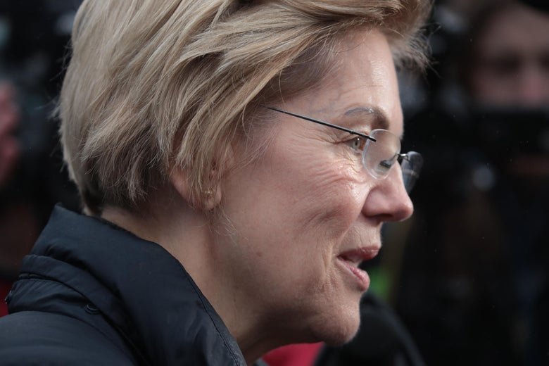 Close-up of Elizabeth Warren's face