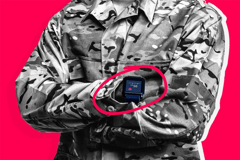 Illustration: a service member wears a smartwatch that is circled. Photo illustration by Slate. Photos by Thinkstock.