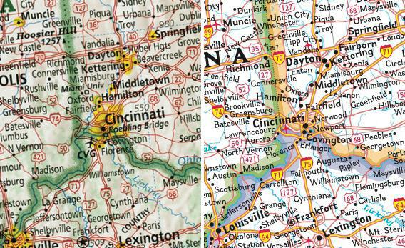 left imus map of cincinnati right national geographic map of cincinnati