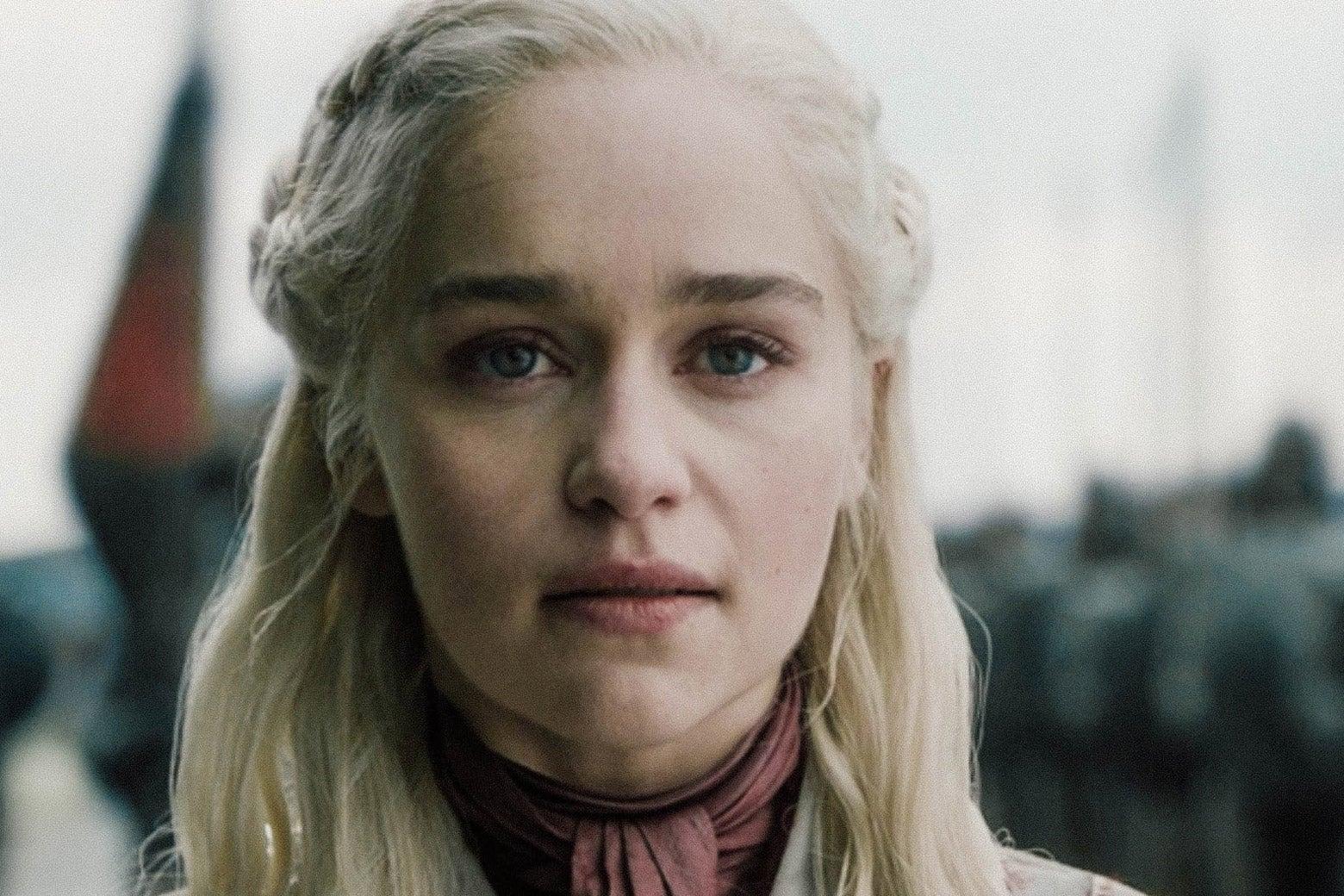 "Daenerys Targaryen in the final scene of ""The Last of the Starks."""