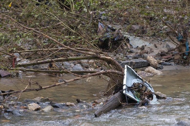Flood debris in a river.