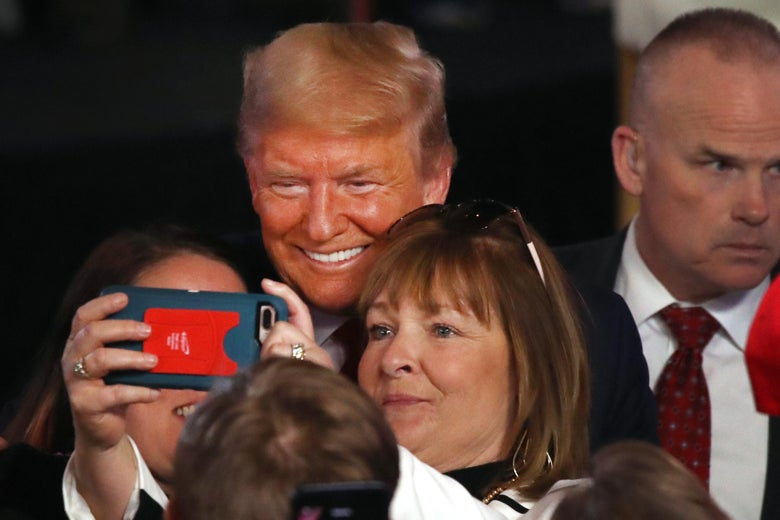 SCRANTON, PENNSYLVANIA - MARCH 05: President Donald Trump greets supporters following a Fox News Town Hall event with moderators Bret Baier and Martha MacCallum on March 05, 2020 in Scranton, Pennsylvania. Among other topics, President Trump discussed his administration's response to the Coronavirus and the economy.  (Photo by Spencer Platt/Getty Images)