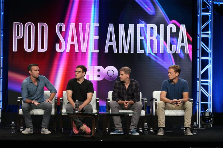 BEVERLY HILLS, CA - JULY 25:  Jon Favreau, Jon Lovett, Dan Pfeiffer and Tommy Vietor of 'Pod Save America' speaks onstage during the HBO portion of the Summer 2018 TCA Press Tour at The Beverly Hilton Hotelon July 25, 2018 in Beverly Hills, California.  (Photo by Frederick M. Brown/Getty Images)
