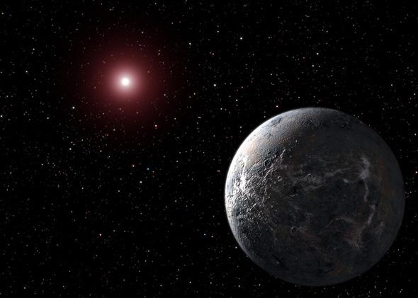 An artists impression of a new planet, OGLE-2005-BLG-390Lb, and its parent star.
