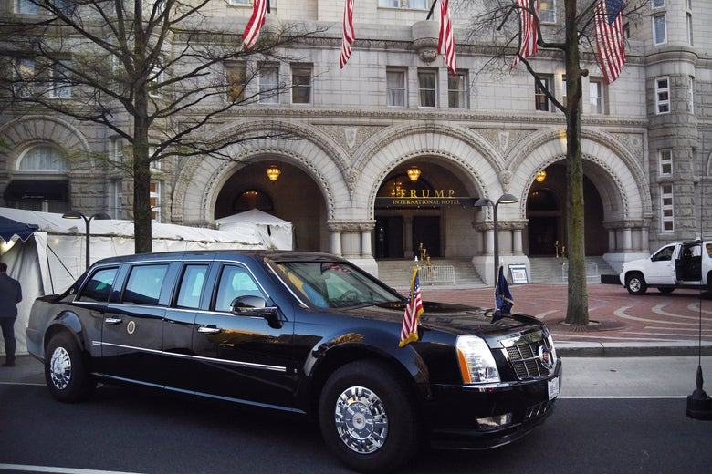 The presidential limousine parked in front of the Trump hotel as  President Trump attends dinner with supporters on April 30, 2018 in Washington, DC.