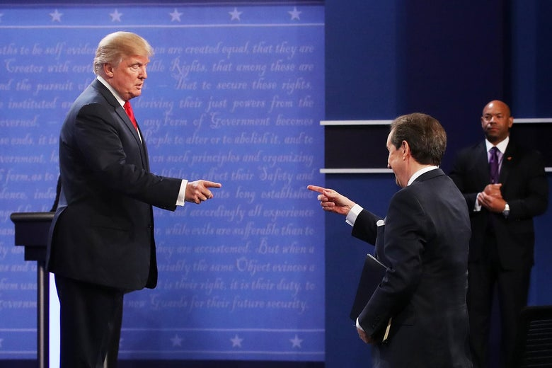 Donald Trump gestures to Fox News anchor and moderator Chris Wallace after the third U.S. presidential debate of the 2016 campaign.