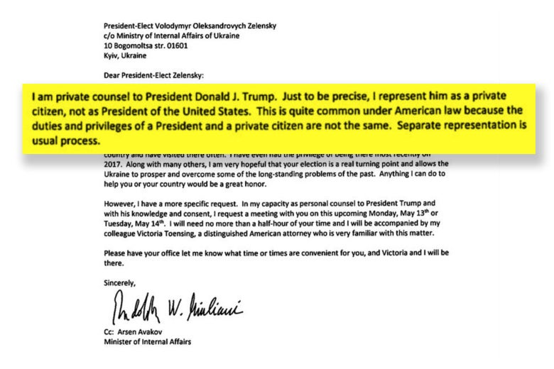 A highlighted paragraph from a formal letter says: I am private counsel to President Donald J. Trump. Just to be precise, I represent him as a private citizen, not as President of the United States.