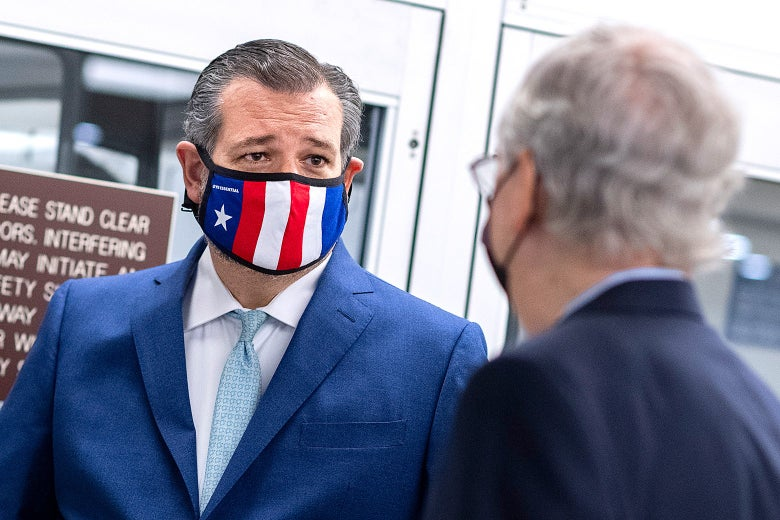 Ted Cruz, wearing a mask, chats with Mitch McConnell