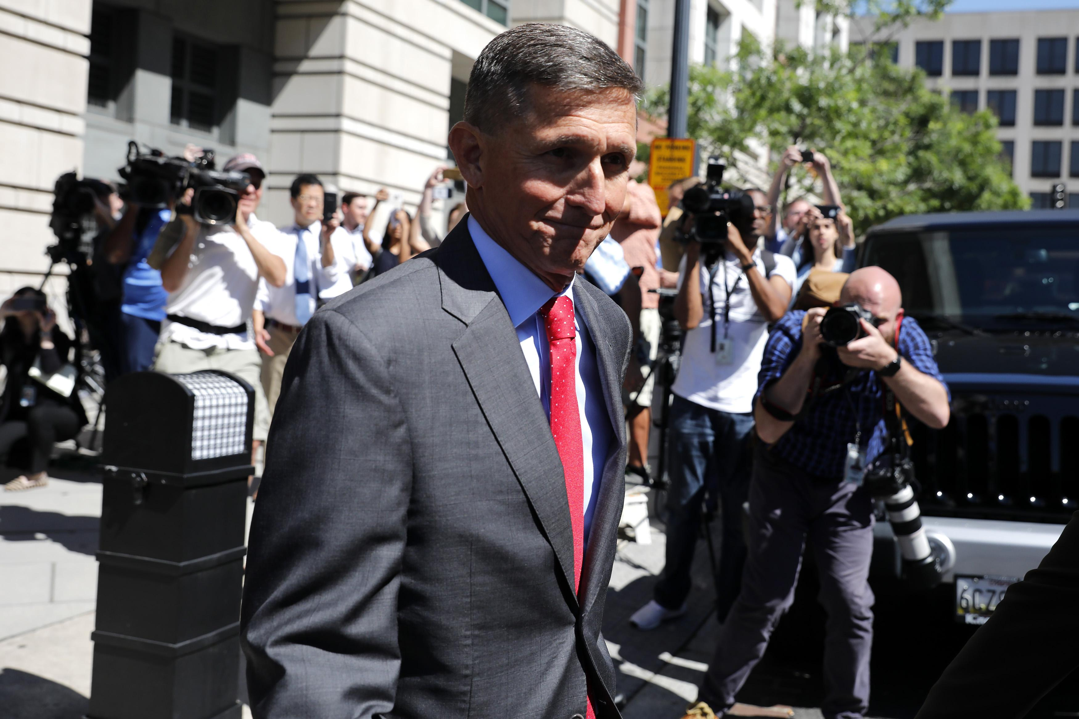 Michael Flynn outside a federal courthouse on July 10 in Washington.