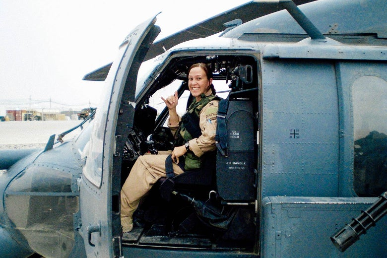 MJ Hegar in a military helicopter.