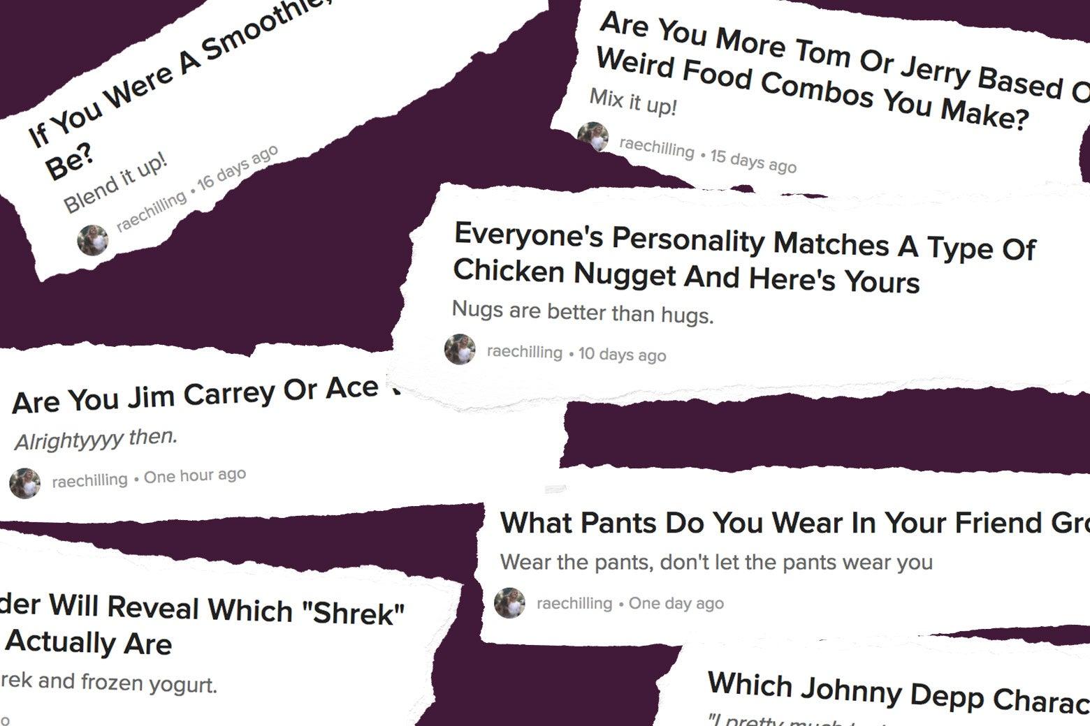 BuzzFeed quiz headlines.