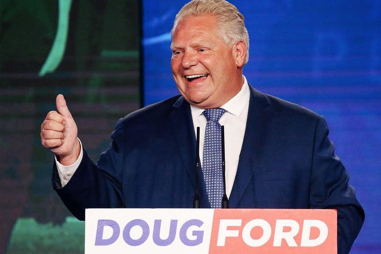 Doug Ford gives a thumbs-up during his election night party following the provincial election in Toronto, Ontario, on Thursday.