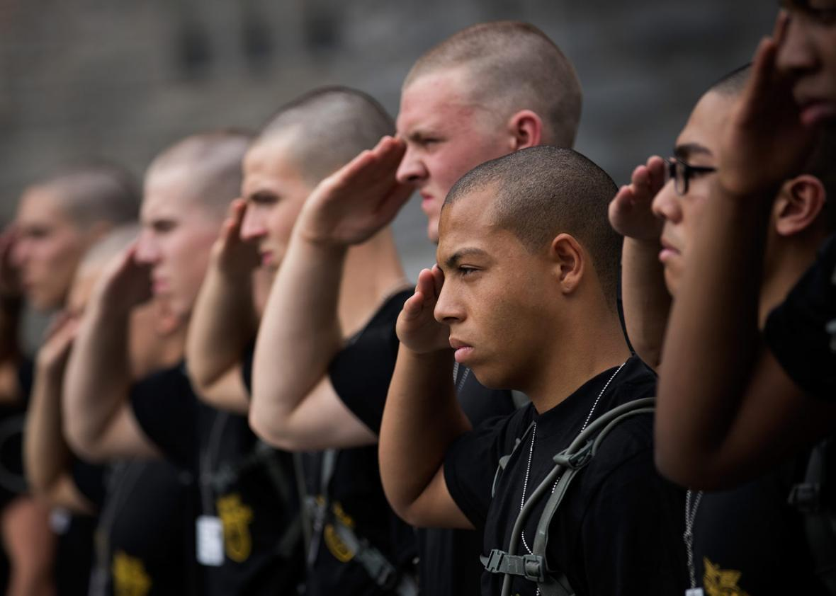 New cadets practice their salute during Reception Day at the United States Military Academy at West Point, June 27, 2016