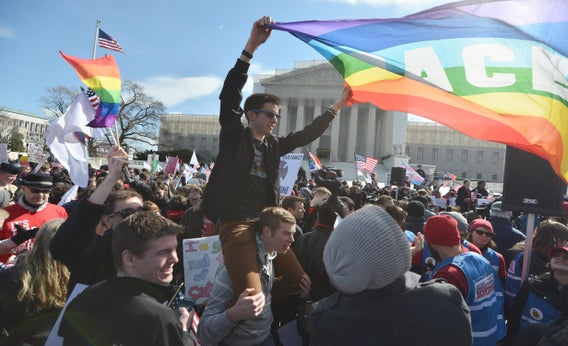 Same-sex marriage supporters demonstrate in front of the Supreme Court on March 27, 2013, in Washington, D.C.
