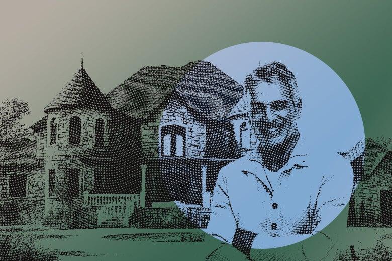 A smiling older man in front of a mansion.