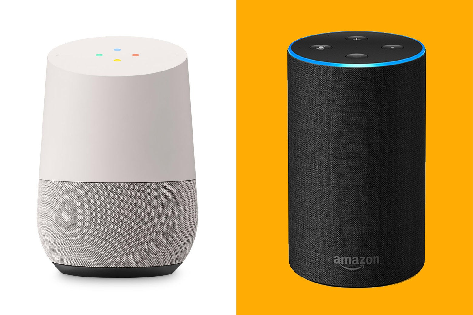A Google Home and an Amazon Echo.