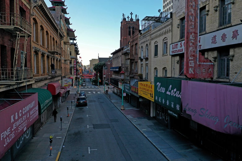 An empty street in San Francisco's Chinatown.