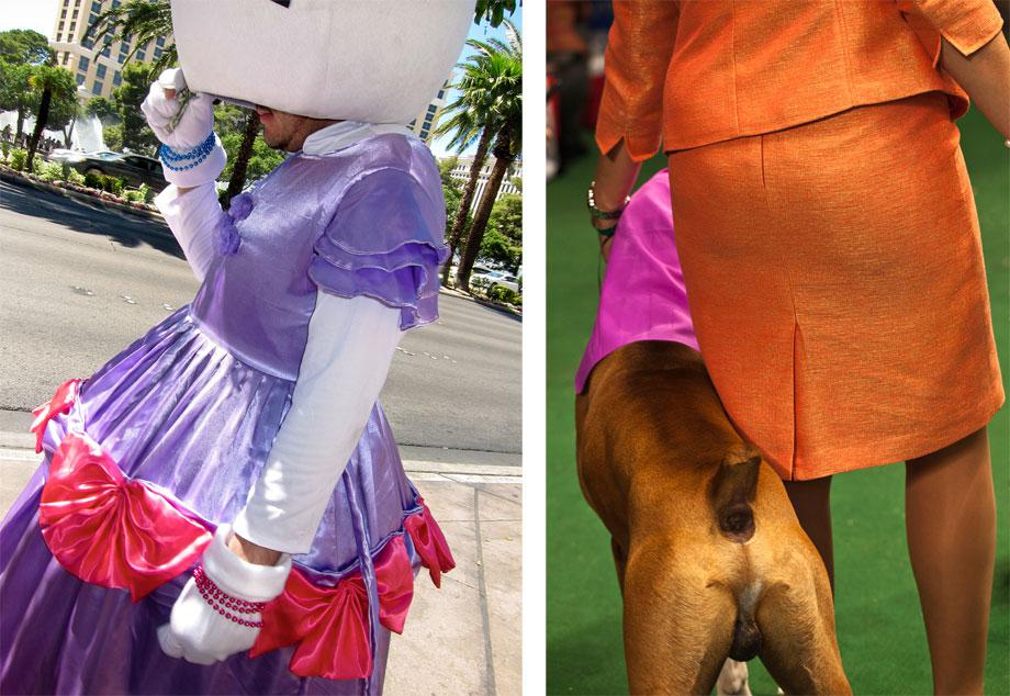 """Left: Hello, Kitty from """"Vegas,"""" 2012. Right: Orange Lady and Boxer from """"Best in Show,"""" 2010."""