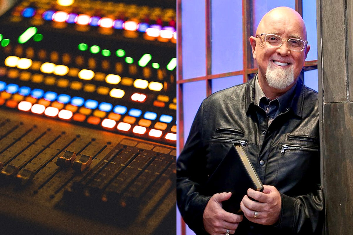 side-by-side photos of a soundboard and the Rev. James MacDonald