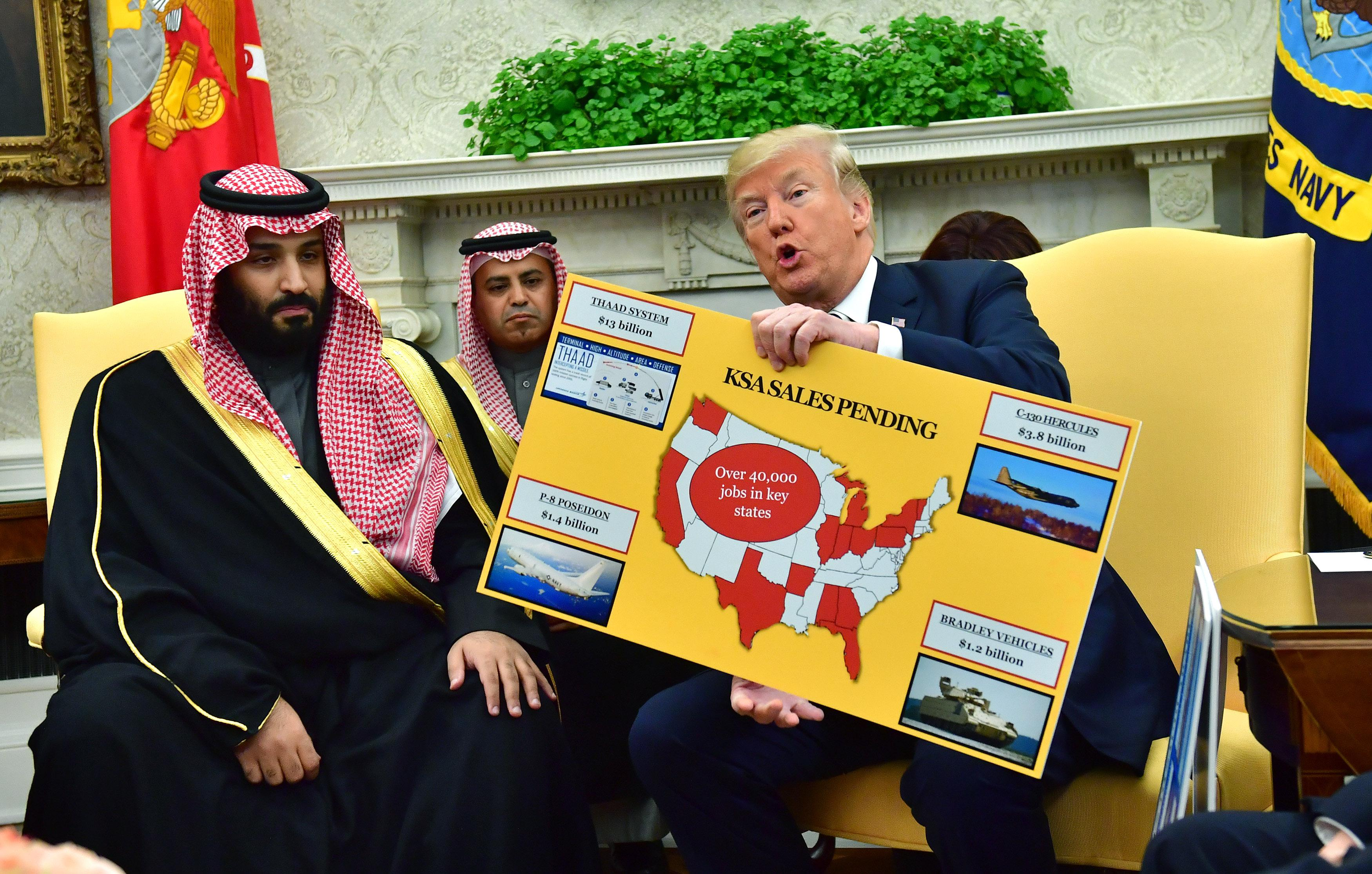 President Donald Trump holds up a chart of military hardware sales as he meets with Crown Prince Mohammed bin Salman of the Kingdom of Saudi Arabia in the Oval Office on March 20, 2018 in Washington, D.C.