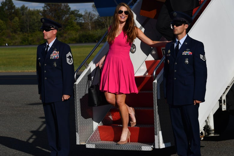 White House Communications Director Hope Hicks walks down the stairs after US President Donald Trump disembarked from Air Force Oner at Morristown Municipal Airport on September 29, 2017 in Morristown, New Jersey, as he travels to spend the weekend at his golf course in Bedminster. / AFP PHOTO / Nicholas Kamm        (Photo credit should read NICHOLAS KAMM/AFP/Getty Images)