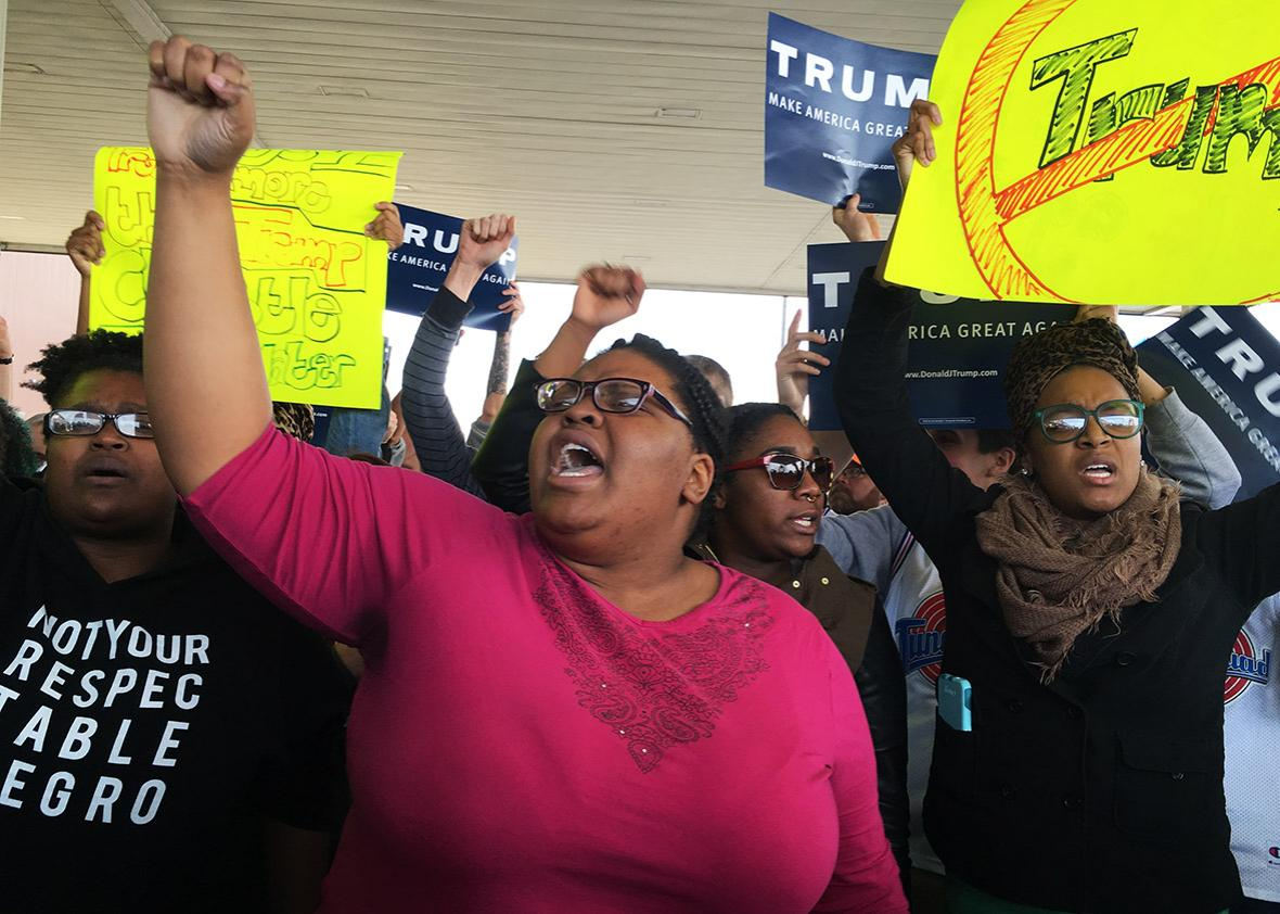 Protesters rally outside during a Trump rally at the International Exposition Center March 12, 2016 in Cleveland, Ohio.