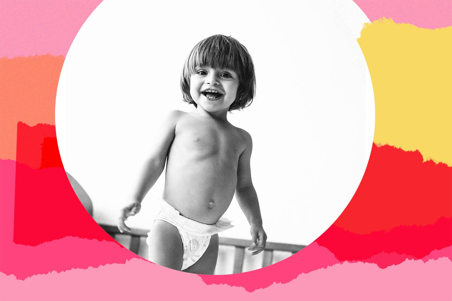 Photo illustration of a toddler joyously naked in her crib.