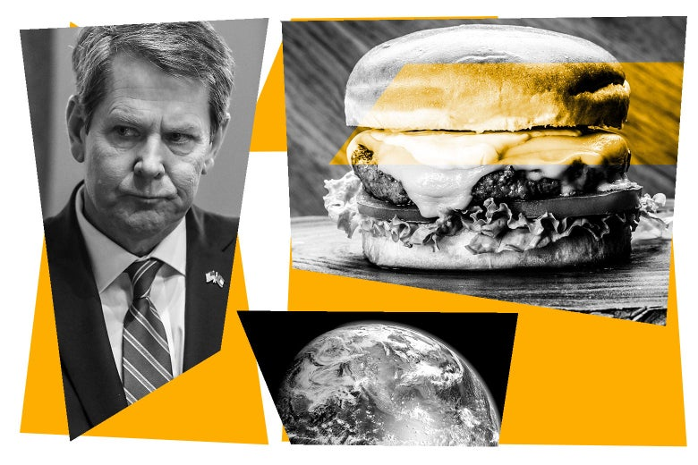 Photo collage of Brian Kemp, a burger, and planet Earth