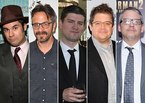 Comedy writers Paul F. Tompkins, Marc Maron, Mike Schur, Patton Oswalt, and Adam McKay.