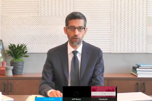 Screenshot of Sundar Pichai testifying remotely.
