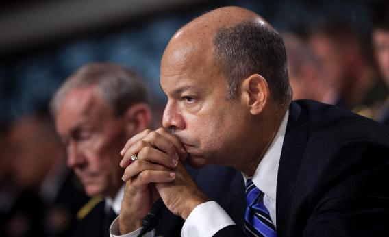 Jeh Johnson, General Counsel for the Defense Department, listens during a hearing of the Senate Armed Services Hearing.
