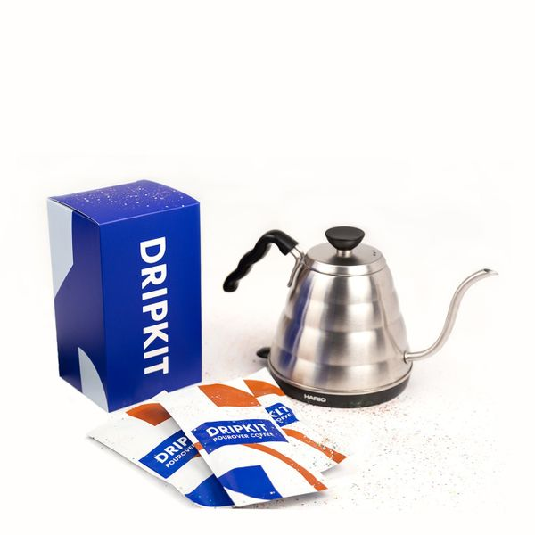 Drip Kit Perfect Pour Over Kit with a Hario electric kettle and ten coffee packets