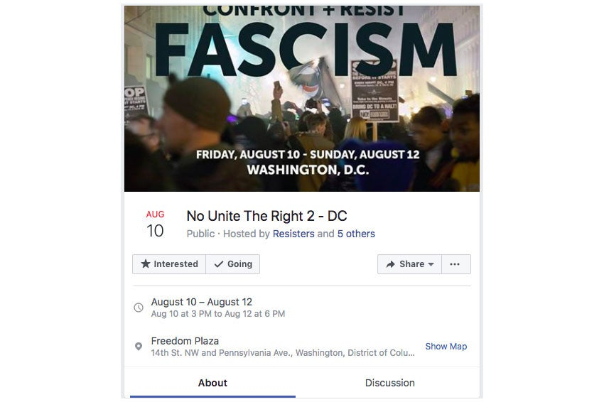 "Screengrab of the reportedly fake ""No Unite the Right 2 – DC"" event page on Facebook."