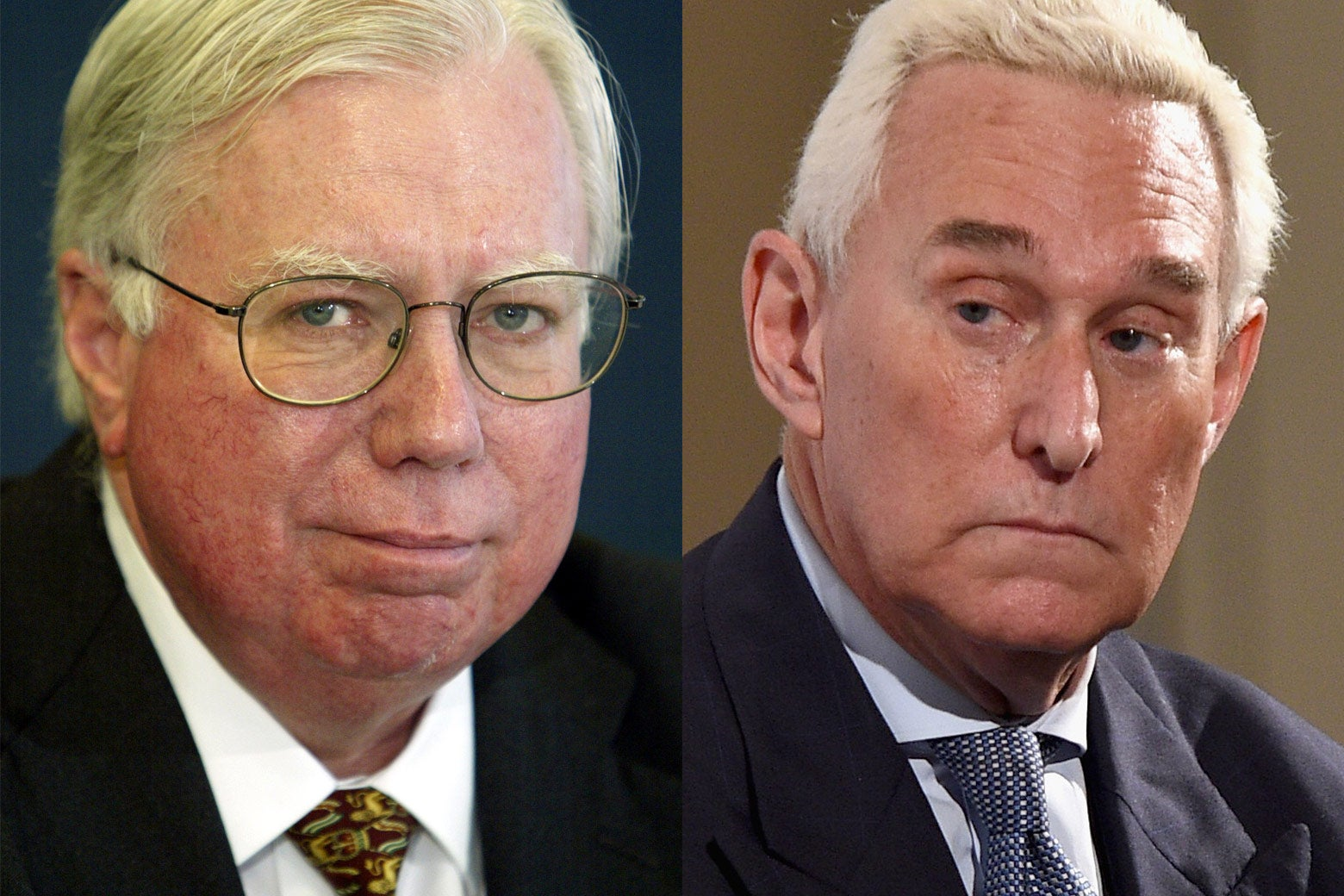 Side by side images of Jerome Corsi and Roger Stone