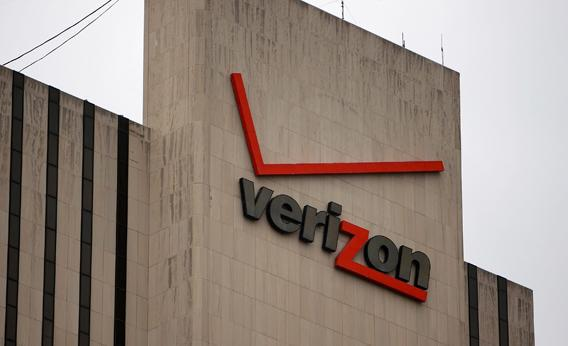 A Verizon logo is displayed on a building June 5, 2008 in New York City.