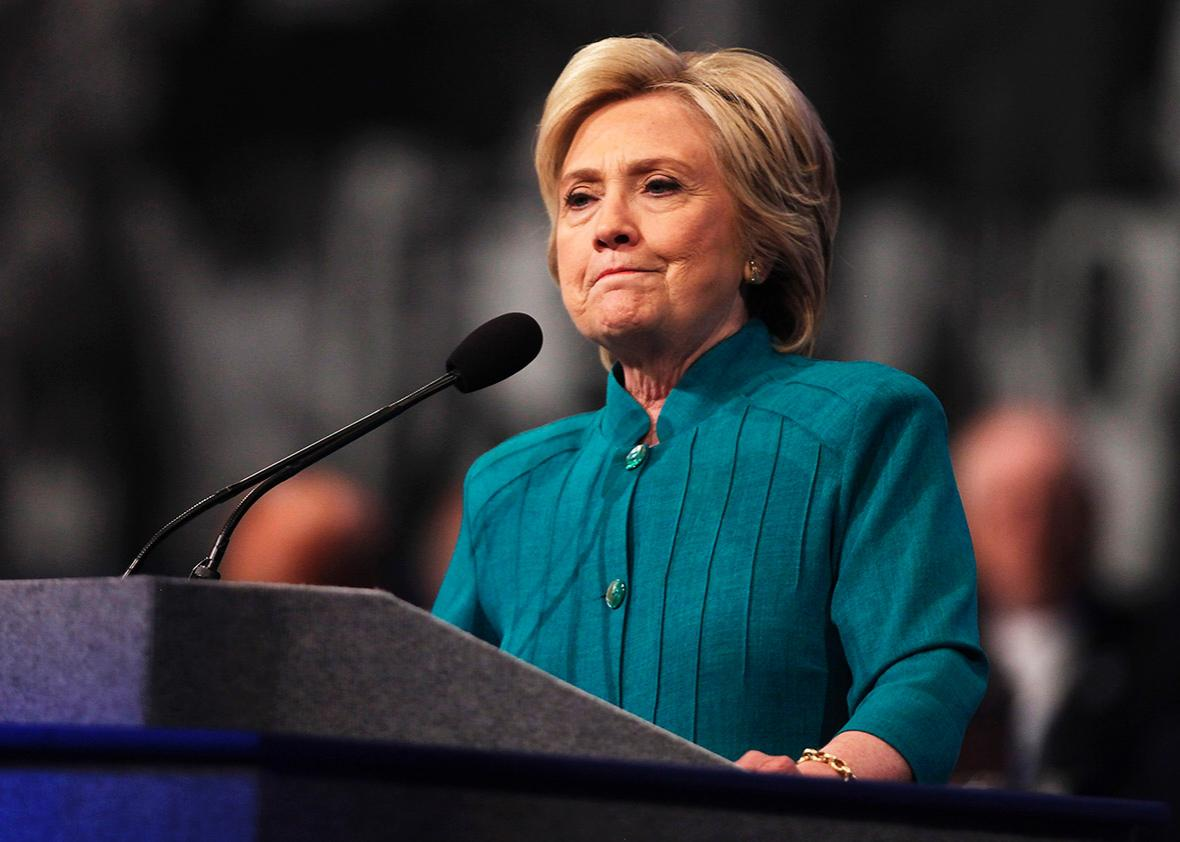 Hillary Clinton addresses the American Federation of State, County and Municipal Employees at their conference on July 19 in Las Vegas.