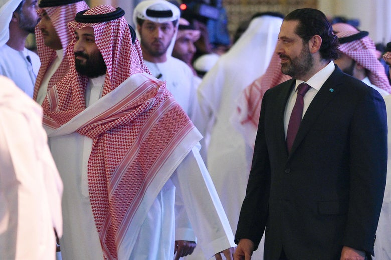 Saudi Crown Prince Mohammed bin Salman and Lebanese Prime Minister Saad al-Hariri together at a conference in Riyadh